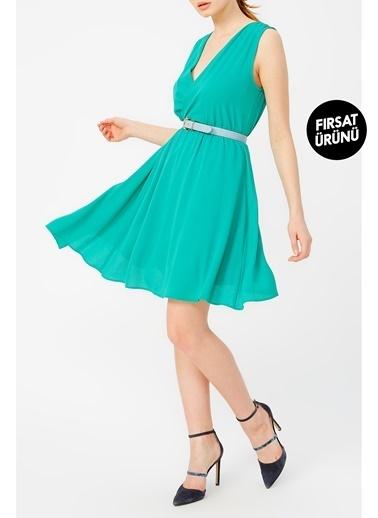 Random Kadın Asimetrik Kesim Beli Lastikli Elbise Yeşil